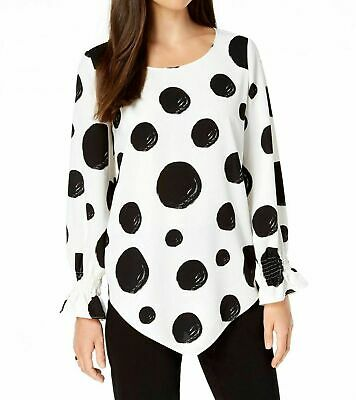 New $168 Alfani Womens White Black Polka Dot V-Hem Smocked-Sleeve Blouse Size M
