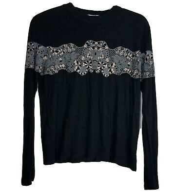 Zara WB Collection Womens Laced Applique Top Long Sleeve Crewneck Embellished M