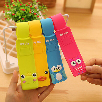 Korean Silicone Travel Luggage Tags Baggage Suitcase Bag Labels Name Address JC
