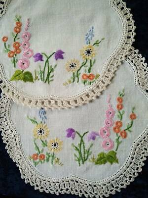 2 x Matching Cottage Garden  Vintage Hand embroidered Doilies