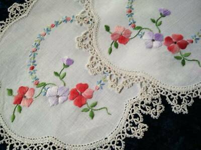 2 x Matching Floral Doilies - Grub Roses  Vintage Hand embroidered