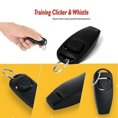 Dog Pet Puppy Cat 2in1 Training Clicker & Whistle Click Trainer Obedience