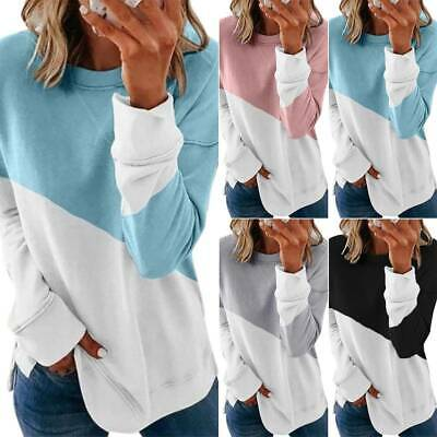 Fashion Women Casual Long Sleeve Colorblock Pullover Blouse Tops Plus Size S-3XL
