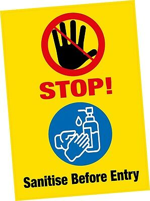"1x A5 STOP Sanitise Before Entry Safety Vinyl Sticker 6""x8"" Shop Office Public"