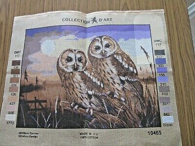 TAPESTRY CANVAS - OWLS -  ready to work- 30 x 40 cm - Made in E.U . 100% Cotton