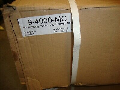 Strong 200 x 190 Core Polypropylene Machine Strapping Banding white 4000 mtrs