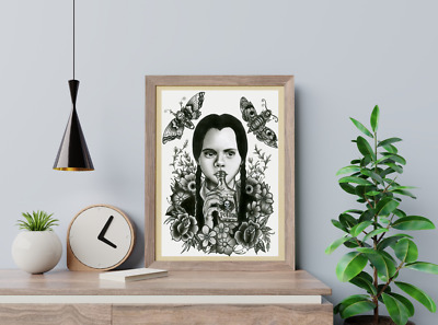 Wednesday Addams Gothic Art Print A4 Home Decor Addams Family Gift