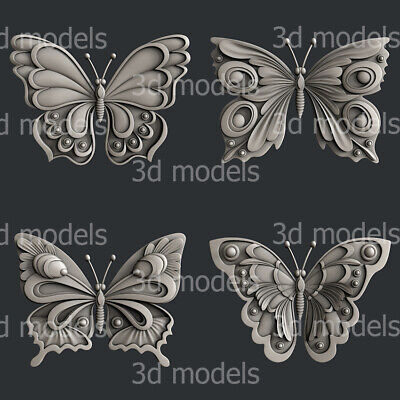 3d STL models for CNC, Artcam, Aspire, set butterfly