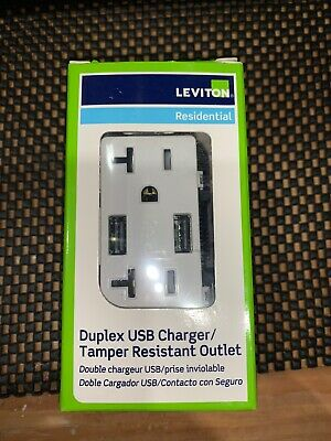 Leviton  Decora  20 amps 125 volt White  Outlet and USB Charger  5-20R