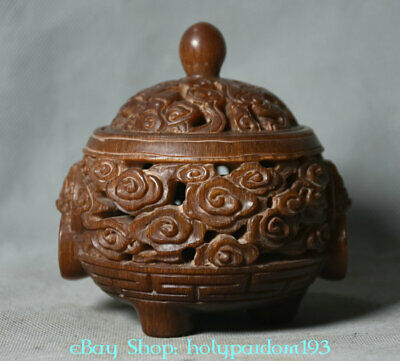"4"" Old Marked Chinese dynasty Ox Horn Hand-Carved Dragon Head Handle Censer"