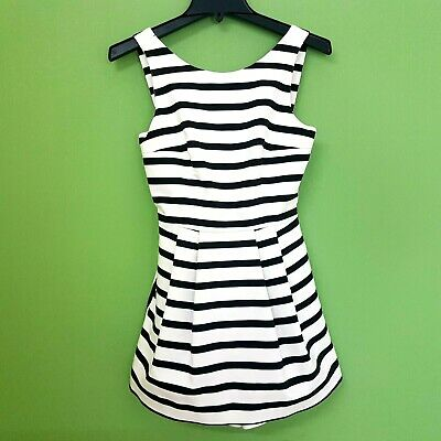 ZARA TRAFALUC Play Suit Size XS UK 8 Black White Striped Pockets Nautical Fitted