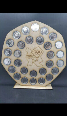 MDF 50 pence coin hunt album royal mint stand olympic 50p display holder