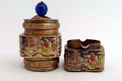 Vintage 1940'S Enamel On Brass Matching Chinese Cigarette Container And Ashtray