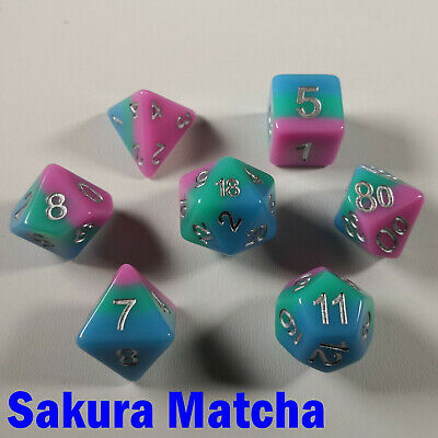 HD Mythic Poly 7 Dice RPG Set Dragon Scale Blue Red Purple Pathfinder 5e DND D/&D