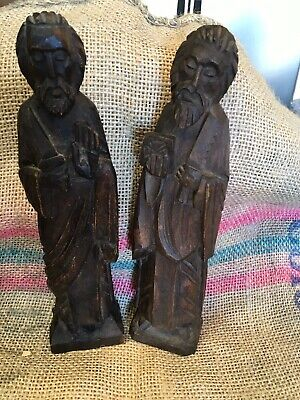 Hand Carved Wood Men Figures 14""