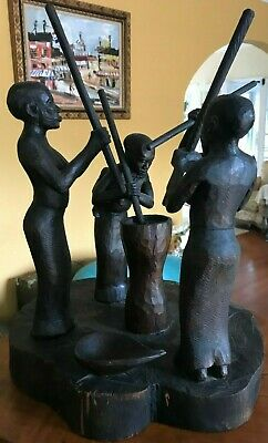 """Antique carved wood signed STATUE by Safari MBAI 16"""" tall."""