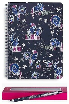NIP Vera Bradley Holiday Owls Mini Notebook w Pocket & Ball Point Pen 2pc Set
