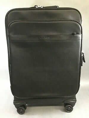 "Coach Black Leather & Nylon 22"" Upright Roller Carry On Suitcase Luggage Used"