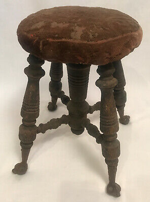 Antique Victorian Piano Organ Stool Bench Glass Ball Claw Foot Wood 1890's 16""