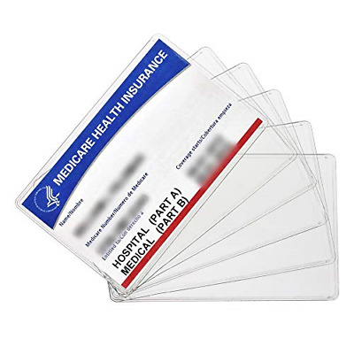6 Pack Medicare Card Holder Protector Sleeves PVC Soft Waterproof Heavy Duty NEW