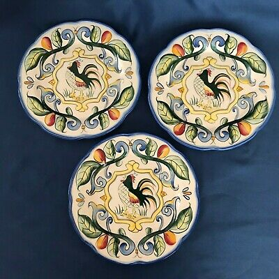 "3 Vintage Fitz & Floyd-RICOMO ROOSTER SALAD PLATES  Blue & Red  8 1/2"" ACROSS"
