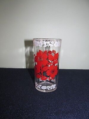 1 Vintage Flowered Red And White  Flowers Drinking Glasses Tumblers 9 Oz
