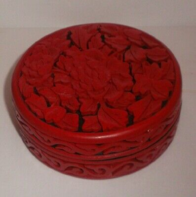 Vintage Mid century Round Carved Chinese Cinnabar Laquered Box w/ orig. pkging.