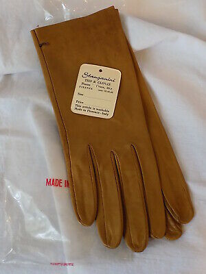 "Vtg NWT STANGANINI Brown/Tan Leather ""Day"" Gloves Womens Size 7.5 Italy (230)"