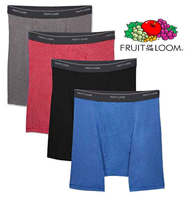 Fruit of the Loom Men's CoolZone Fly Stripe & Solid Boxer Briefs, 4 Pack XXL