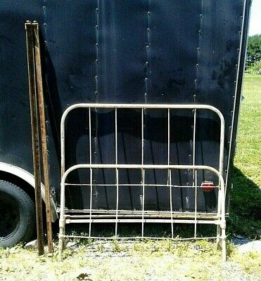 Antique White Iron Double Bed Frame with Original Side Rails 1920 Era