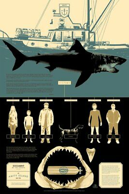 """MONDO JAWS """"Victims"""" print poster by Matt Taylor - Info Rama 2016 - SOLD OUT"""