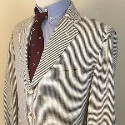 Mens Seersucker Blue White Striped 3 Button Blazer Sport Coat Size 42 R, Corbin