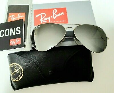 Ray-Ban Aviator Silver Frame Silver Mirror Sunglasses 58mm RB3025 W3277