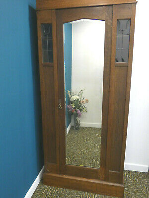 Antique Oak Hall Cupboard, Art Deco Coat Rack, mirror & leaded glass.  Northants