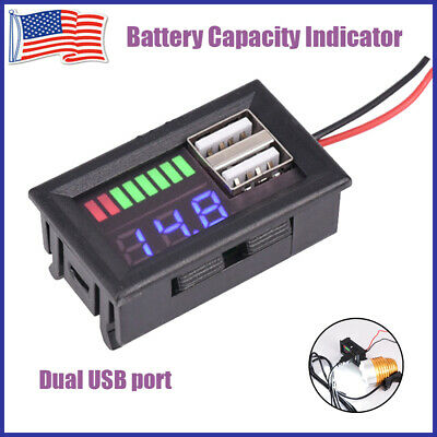 Voltage Capacity Meter Indicator Two USB Charger 5V 2A Car Power Battery Monitor