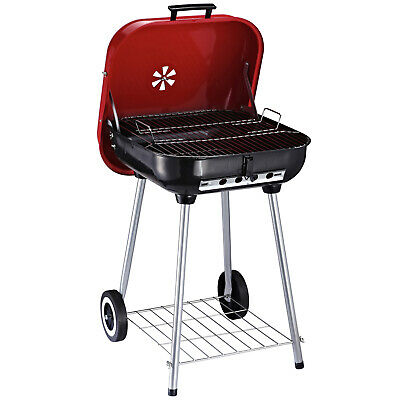 Outsunny Barbecue à Charbon BBQ Grill sur Pied 47 x 45 x 70 cm