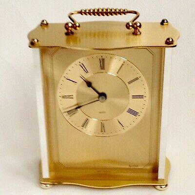 Acctim Solid Brass Carriage/Mantle Clock 1980s Working German Vintage Retro