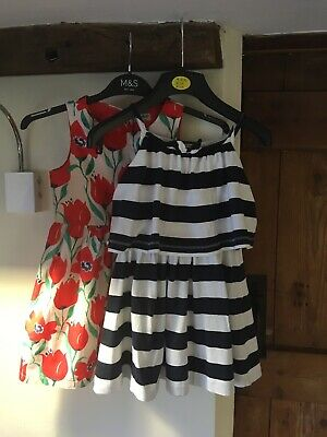 Girls Next dresses Age 4 5 Ex condition Navy stripe and red Floral