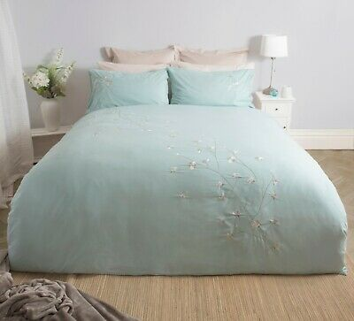 100% Cotton Embroidered Duvet Cover Set in Duck Egg Single Bed Size