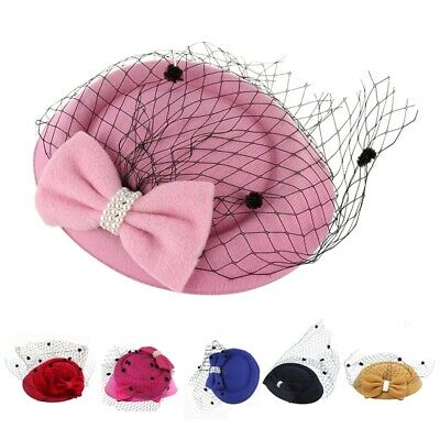 Women's Fascinators Hat Pillbox Hat Cocktail Party Hat with Dot Veil Bowkno X1Y6