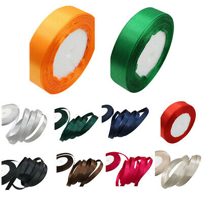 22M Satin Ribbon Reel Wide Double Faced Roll Quality Ribbon Crafts (10mm) E1G1