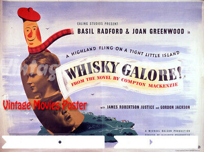 A4 sizes A3 Whisky Galore Vintage Art Deco Movie Poster A2 A1
