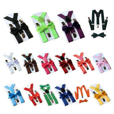 Children Kids Boys Girls Clip-on Suspenders Elastic Adjustable Braces With  Y2G8