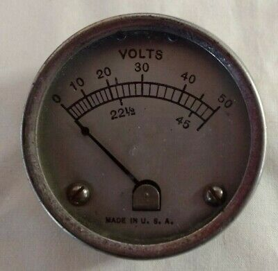 """C 1950 - 2"""" Voltmeter - 0-50 Volts In 10 Volt Increments - Steampunk Project"""