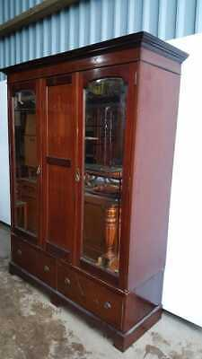 Edwardian Inlaid Mahogany Mirror Door Wardrobe