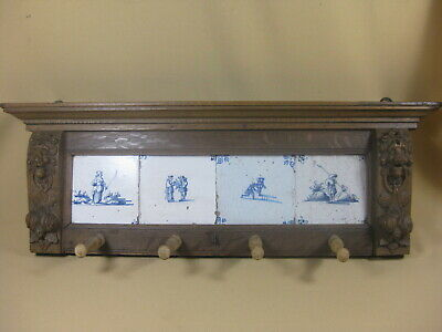 Antique Oak Coat Rack With Four 18th  C Dutch Delft Tiles