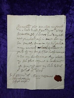 Wonderful original Letter from 1678 with wax seal