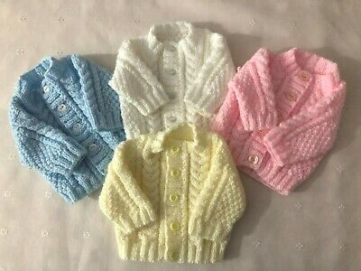 Hand Knitted Aran Premature / Small New Born Baby Girl Boy White Pink Cardigan