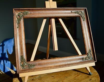 "SUPERB ANTIQUE EDWARDIAN CARVED OAK PICTURE FRAME 13"" X 9"" REBATE vARTS & CRAFTS"