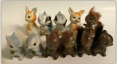 Vintage Squirrel Figures Made in Japan Enesco Faux Fur Tail Lot